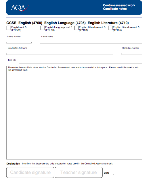 aqa english literature coursework cover sheet Centre declaration sheet  gcse english language (8700) gcse biology ( 8461), chemistry (8462), physics (8463) and combined science synergy (8465) .