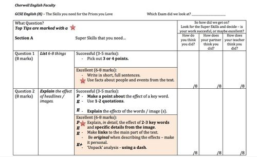 GCSE English (H) Exam Feedback Sheet - Section A.docx [Compatibility Mode]